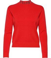 neck logo sweater gebreide trui rood calvin klein jeans