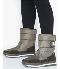 rubber duck nylon suede solid snowjogger flat boots khaki