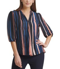 dkny pleated striped top