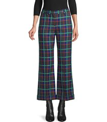 m missoni women's plaid kick flare trousers - bluette - size 40 (4)