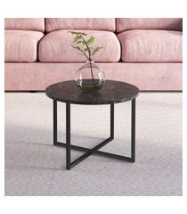 mesa de centro redonda artesano industrial 50cm fosca
