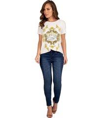 t-shirt draw guess - branco/estampado/multicolorido - feminino - dafiti