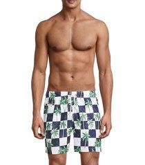 trunks surf + swim men's check palm tree-print swim shorts - marine - size m