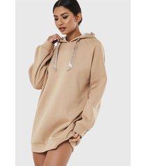 vestido missguided msgd loungewear oversized hoo camel - calce oversize