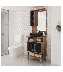 gabinete para banheiro preto e castanho tannat lilies móveis