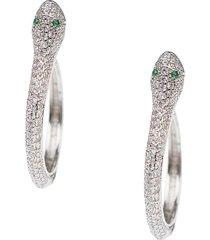 cz by kenneth jay lane rhodium-plated & crystal snake hoop earrings