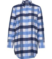 d1. gbp gingham long shirt overhemd met lange mouwen blauw gant