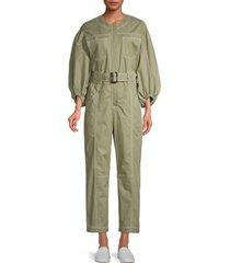 jonathan simkhai women's puff-sleeve jumpsuit - green - size 4