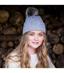 grey women's bobble hat