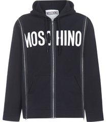 moschino zipped hoodie fleece
