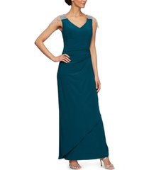 alex evenings petite v-neck gown