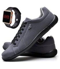 kit sapatênis sapato casual com relógio led casual juilli 920mr cinza