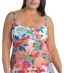 la blanca plus size tropicalia twisted bandeau tankini top women's swimsuit