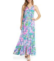 women's lilly pulitzer luliana button front maxi dress, size xx-small - purple