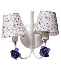 arandela 2 lâmpadas flores potinho de mel lilás