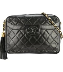 chanel pre-owned 1991-1994 fringe chain shoulder bag - black