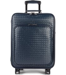 bottega veneta cabin woven leather suitcase - navy