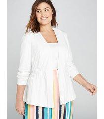 lane bryant women's drawstring peplum jacket 14p white