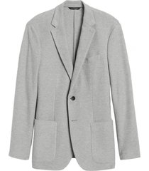 chaqueta slim knit pique gris banana republic