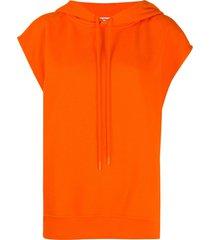 courrèges cotton short sleeve hoodie - orange