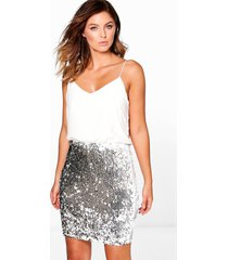 boutique 2-in-1 bodycon jurk met pailetten, zilver
