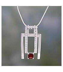 garnet pendant necklace, 'harmonious geometry' (india)