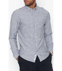 only & sons onscaiden ls solid linen shirt noos skjortor mörk blå