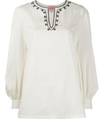 le sirenuse contrasting collar kaftan blouse - neutrals