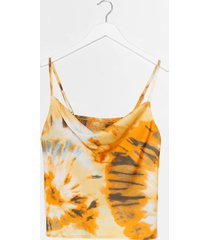 womens right on tie dye cowl crop top - yellow
