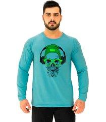 """camiseta manga longa moletinho alto conceito caveira headphone ã""""culos neon ㉠legal azul piscina - azul - masculino - algodã£o - dafiti"""