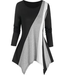 asymmetric colorblock t shirt