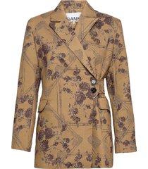 brocade jacquard blazers casual blazers beige ganni