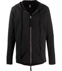 thom krom long drawstring zip-up hoodie - black