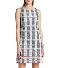 st. john women's striped tweed shift dress - navy ecru multi - size 8