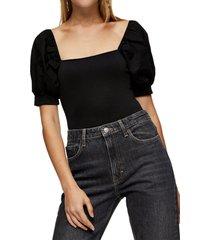 women's topshop puff sleeve poplin bodysuit, size 2 us - black