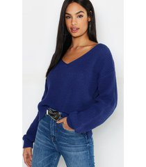 tall trui met v-hals, denim