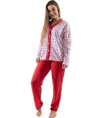 pijama 4 estaã§ãµes com botã£o amamentaã§ã£o manga longa feminino vermelho - vermelho - feminino - poliã©ster - dafiti
