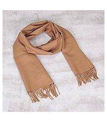 100% men's alpaca scarf, 'desert tan' (peru)