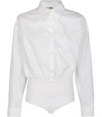 mm6 maison margiela white cotton bodysuit