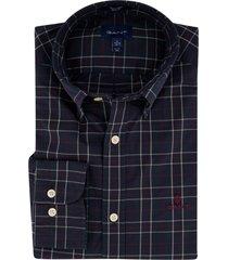 donkerblauw overhemd gant geruit button down