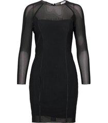 body-con mesh double layer dress kort klänning svart calvin klein jeans