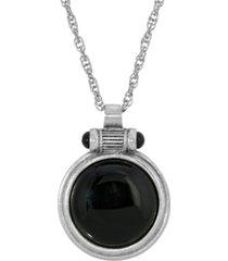 2028 silver-tone onyx round pendant necklace