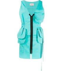 natasha zinko two-pocket cargo dress - blue