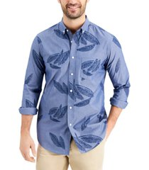 club room men's slim-fit leaf-print chambray shirt, created for macy's