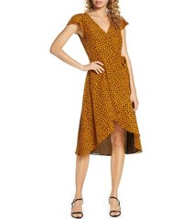 women's bb dakota leopard print wrap midi dress