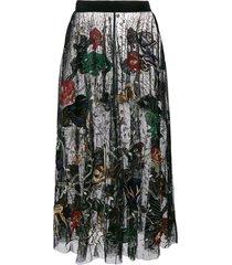 amen embroidered tulle skirt - black