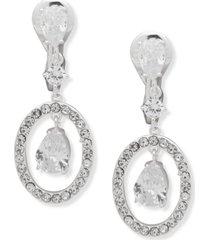 anne klein silver-tone pave & cubic zirconia orbital clip-on drop earrings