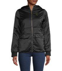 roberto cavalli women's padded logo jacket - black - size xl