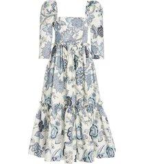 blue hill floral-print cotton-poplin midi dress