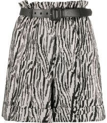 self-portrait zebra-print belted shorts